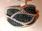 GENUINE BLUE DIAMOND BAND RING .35CTW RHODIUM STERLING SILVER