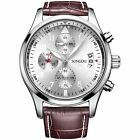 Mens Wrist Watches Quartz Date Black Chronograph Leather Strap Stainless Steel