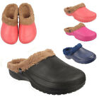 Ladies Womens New Warm Cosy Fur Lined Winter Hospital Slippers Mules Clogs Shoes