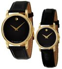 Kyпить Movado Museum Black Dial Gold Black Leather Mens & Womens Watch 2100005 2100006 на еВаy.соm