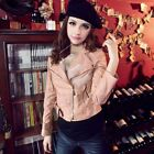 Punk Zip Rivet Lapel Blazer Coat Synthetic PU Leather Motorcycle Jacket M-L Hot