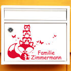 10595 Wandtattoo Loft Wall Stickers Mailbox Door Fox with Owl Custom Name
