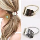 Gold Or Silver Leaf Design Hair Band Bobble Ponytail Elastic Rope Hair Accessory