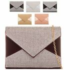 Ladies Fx Leather Suede Diamante Clutch Bag Bridal Party Purse Handbag KB025-4