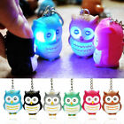 LED Flash Hooting Sound Owl Pendant Keyring Bag Car Phone Key Chain Gift 7 Color