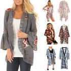 Feitong Women Floral Long Sleeve Shawl Kimono Cardigan Top C