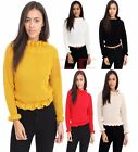 Women Chunky Knitted Ruffle Edge Bardot Turtle Neck Fishnet pullover jumper top