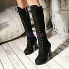 Womens Lace Up KNee High Boots Suede Leather Brogue Wing Tip Block Heel Shoes
