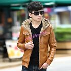 Mens Boy Hooded Fur Lined Coat Faux Leather Motor Short Jacket Stylish Winter