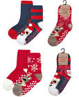 4 Pairs Kids Boys Xmas Christmas Socks Childrens Novelty Cosy Grippers Footwear