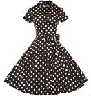 Womens Vintage Wrap 1950s 50s Rockabilly Audrey Evening Party Swing Skater Dress