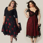 Plus Size Women Sleeveless Lace Long Evening Party Prom Gown Formal Lace Dress