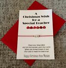 Personalised Teacher Christmas Gift Card with Wish String Bracelet