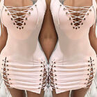 Women' s Sexy Bodycon Lace-up Sleeveless Club party Slim Fit Sheath Mini Dress