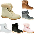 LADIES ANKLE BOOTS WOMENS FUR LINED FLAT GRIP SOLE ARMY COMBAT WINTER SNOW SHOES