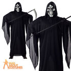 Grim Reaper Costume Robe and Mask Halloween Horror Mens Fancy Dress Outfit New