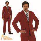 70s Newsreader Ron Burgundy Costume Mens Stag Party Fancy Dress Outfit New