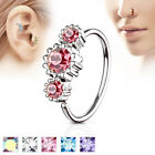 1pc Three CZ Gem Hoop Nose / Cartilage Ring Annealed Surgical Steel