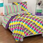 NEW Rainbow Hearts Pink Purple Yellow Green Girls Comforter Bedding Set