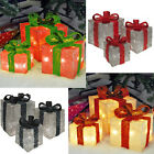 LIGHT UP CHRISTMAS PRESENT GIFT BOXES SET OF 3 XMAS LED INDOOR DECORATION