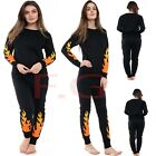 Womens Fire Flame Print Tracksuit Jogging Bottoms Sweatshirt Pant Lonungwear Set
