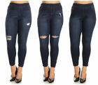 WOMENS PLUS SIZE Distressed Knee Hole Ripped Stretch JEANS S