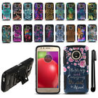 For Motorola Moto E4 XT1767 (USA) Design Hybrid Heavy Stand Case Cover + Pen