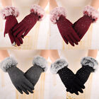 Womens Fashion Winter Outdoor Sport Warm Fur Crystal Thick Finger Gloves Mittens