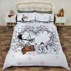 Gold Stag & Friends Christmas Duvet/Quilt Cover With Pillow Cases