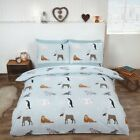 Ice Blue Winter Animals Brushed Cotton Duvet/Quilt Cover With Pillow Cases