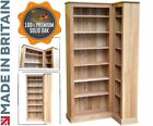 Solid Oak Corner Bookcase, 205cm Tall Traditional Book Display Shelving Unit