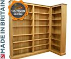 Solid Oak Bookcase, 7ft Tall Handcrafted Adjustable Corner Book Shelving Unit