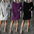 Fashion Women Winter Long Sleeve Casual Loose Knitted Sweater Jumper Mini Dress