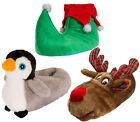 Womens Novelty 3D Xmas Slippers Reindeer Elf Plush Christmas Booties Gift Size