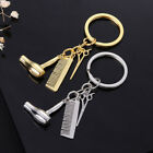 Hairdresser Hair Dryer Scissor Comb Keychain Creative Key Ring Jewelry Gift