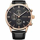 Multifunction Mens Watche Date Black Chronograph Stopwatch Rose Gold Holiday Gif