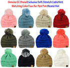 New! CC Exclusive Soft Stretch Cable Knit Colored Faux Fur Pom Pom CC Beanie Hat