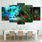 5 Piece HD Blue Peacock Painting On Canvas Print Home Decor