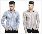 Men's Striped Print Long Sleeve Lapel Casual Shirt Slim Soft Fit Blouses M-2XL