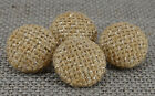 Decorative Round Jute Fabric Covered 2 Holes Button Sewing Scrapbooking Craft