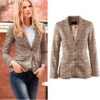 Womens Two Button Plaid Casual Business Blazer Suit Jacket Coat Outwear Tops