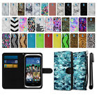For HTC Desire 526 Mixed Design Ultra Slim Canvas Wallet Case Cover + Pen