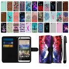 For HTC Desire 626 626S Mixed Design Ultra Slim Canvas Wallet Case Cover + Pen