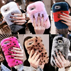Hot Luxury Bling Diamond Fuzzy Fluffy Rabbit Fur Case Cover & Ring Stand & Strap