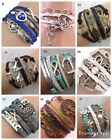 Fashion Womens Leather Multilayer Cute Infinity Love Heart Wings Charms Bracelet