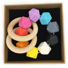 Hexagon Silicone Beads Bracelet Wooden Chewable Baby Teething Teether Jewelry