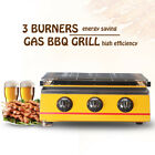 3 Burners Yellow Gas BBQ Grill Outdoor Barbecue Picnic Steel Shield/Glass Shield