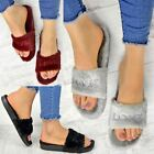 Womens Ladies Sliders Fur Slides Love Slippers Comfort Cushioned Slip On Size