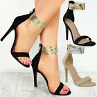 New Womens Ladies High Heel Thin Ankle Strap Sandals Party Celeb Shoes Size