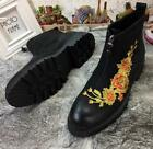 Luxury Chukka Men's Ankle Boots Leather Shoes Embroidery Flowers High Top Zip